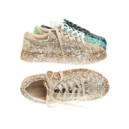 d063c55256ec Bamboo - Grandslam07 by Bamboo, Glitter Fashion Lace Up Sneaker w Covered  Platform & Metallic Upper - Walmart.com