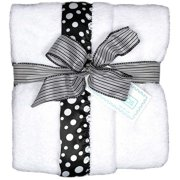 """Raindrops Unisex Baby Flurr Receiving Blanket, Black With White Dots, 28"""" X 36"""""""