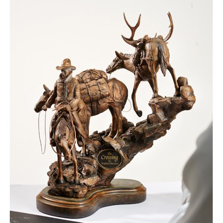 Wild Wings The Crossing - Cowboy and Horse Sculpture
