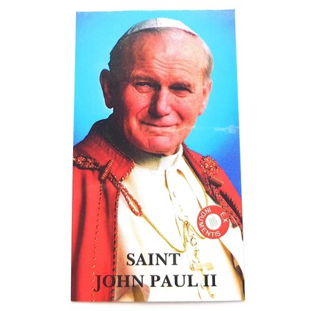 relic card 3rd Class of Saint John Paul II JP2 Karol Wojtyla Patron of World Youth Day WYD Catholics Families Reliquia de Juan Pablo II Divina Misericordia - Saint Paul College Card