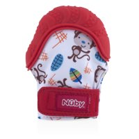 Nuby Teething Mitten with Hygienic Travel Bag, Red Monkey