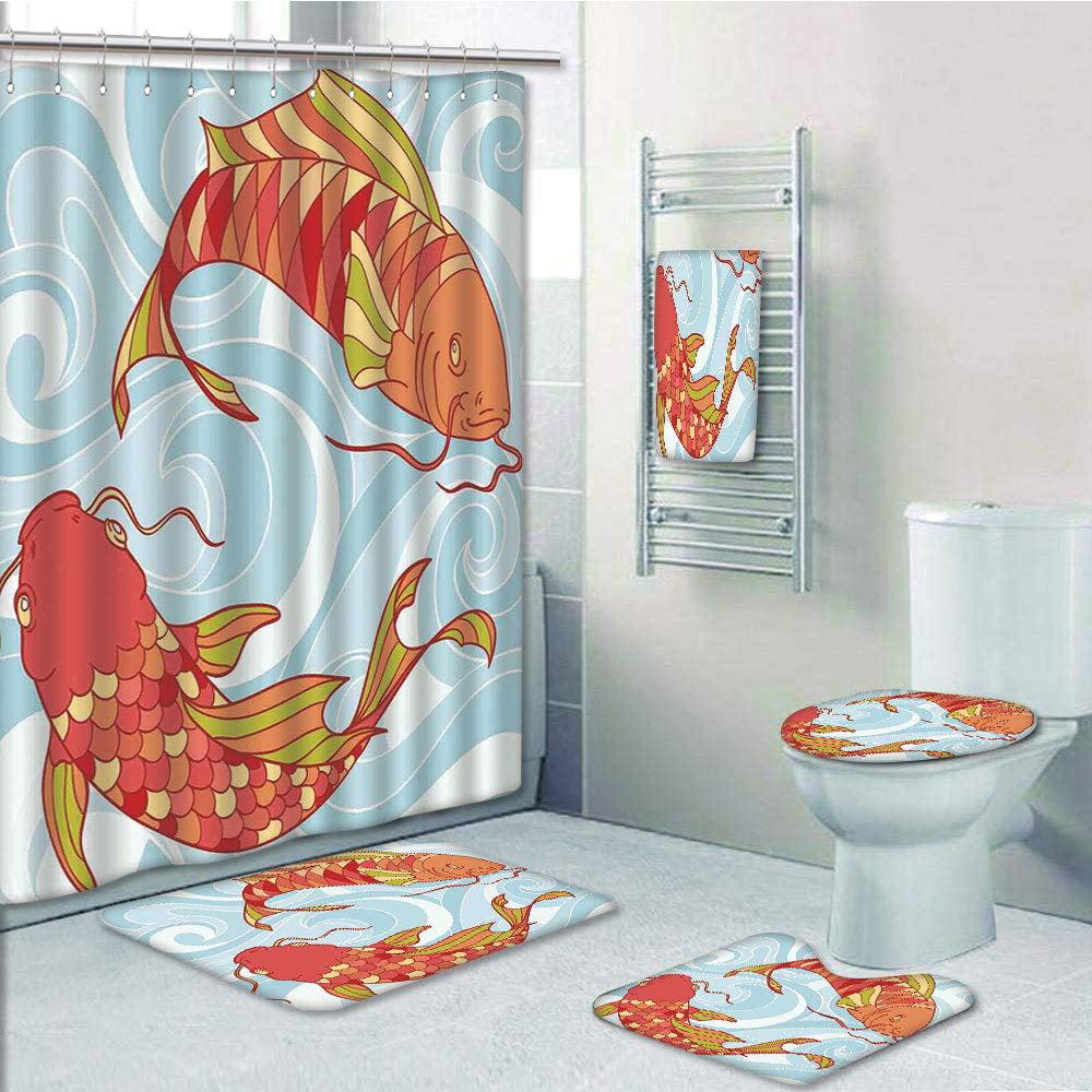 Erehome Koi Fish Hand Drawn Colorful Koi Swirled Asian Sea Waves Japanese Oriental 5 Piece Bathroom Set Shower Curtain Bath Towel Bath Rug Contour Mat And Toilet Lid Cover Walmart Canada