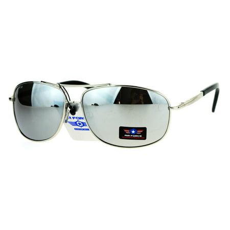 f047e02190 Mens Mirror Lens Narrow Rectangular Aviator Police Metal Rim Sunglasses  Silver - Walmart.com