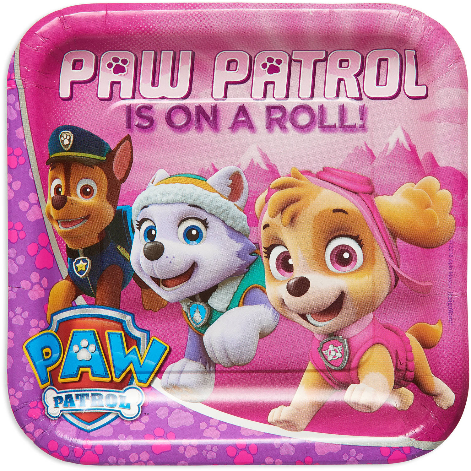 9  PAW Patrol Pink Square Paper Party Plate ...  sc 1 st  Walmart & 9