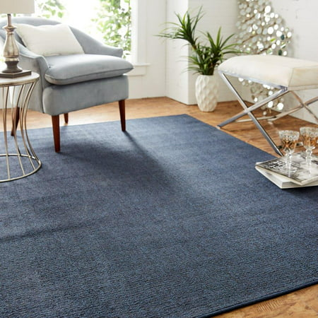 Mainstays Titan Solid Area Rug, Navy, 3' x 5' Aruba Blue Area Rug