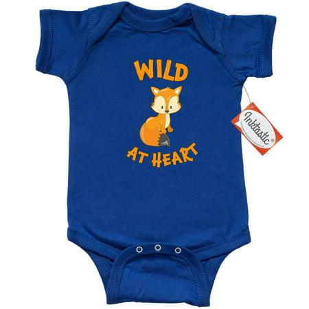 Inktastic Wild At Heart Cute Fox Infant Creeper Baby Bodysuit Fun Forest Animal Future Hunter Ranger Hiker Adventure Wilderness Babys First Cuddly Gift One-piece