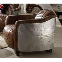 ACME Brancaster Chair, Retro Brown Top Grain Leather & Aluminum