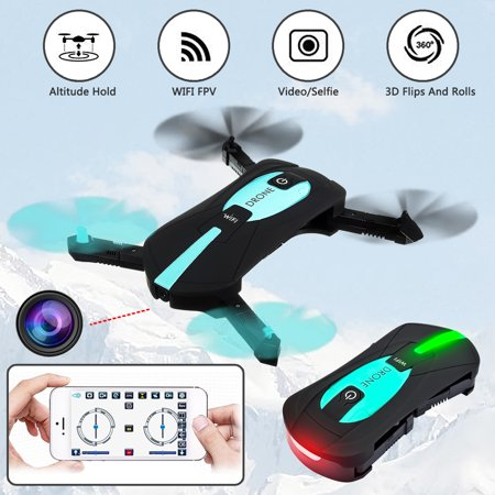 Foldable 720P HD Camera Selfie Drone Wifi FPV App Control RC Quadcopter Toy Gift