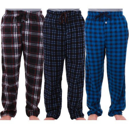 Snap Waist Pajamas (Enimay Men's Fleece and Flannel Pajama Pants w/ Drawstring Button Fly Pockets Elastic Waist 3 Pack Royal | Red | Dark Blue)