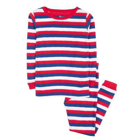Leveret Striped Kids & Toddler Boys Pajamas 2 Piece Pjs Set 100% Cotton (Size 12-18 Months, Red/White/Blue) (Superhero Pjs For Kids)