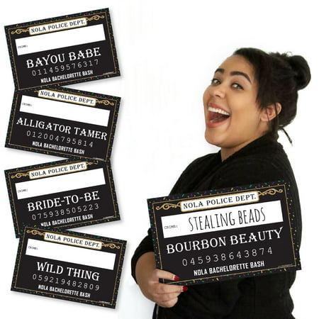 NOLA Bride Squad - New Orleans Bachelorette Party Mug Shots - Photo Booth Props Mugshot Signs - 20 Count