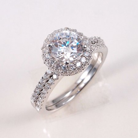 Other Fine Rings 1.5 Ct Three Stone Plus Ring Top Cz Sterling Silver Sz 8