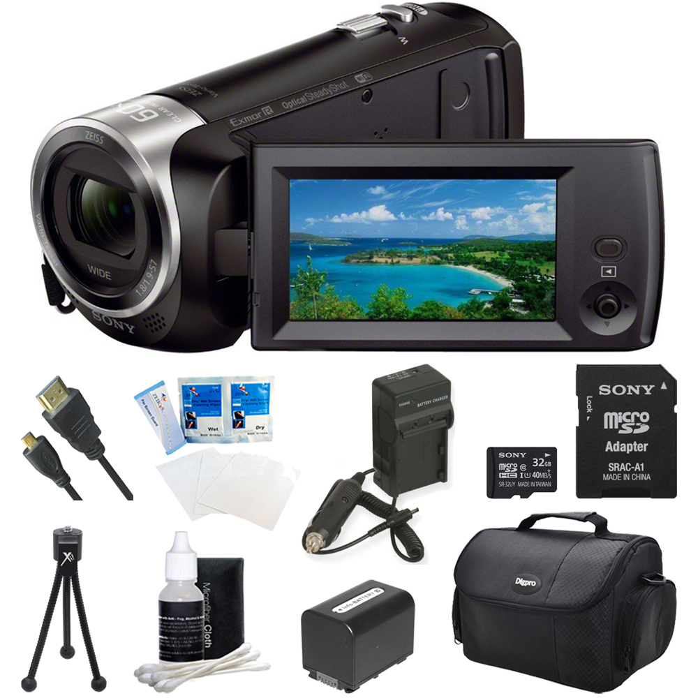 Sony HDR-CX440 HDR-CX440/B CX440 Full HD 60p Camcorder - Black Ultimate Bundle w/ 32GB High Speed MicroSD Card, Spare High Capacity Battery, AC/DC Charger, Table top Tripod, Deluxe Case, and much mor