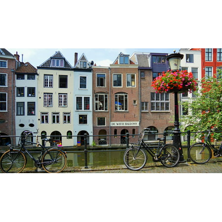 Canvas Print Channel Cycle Utrecht Holland House Stretched Canvas 10 x 14