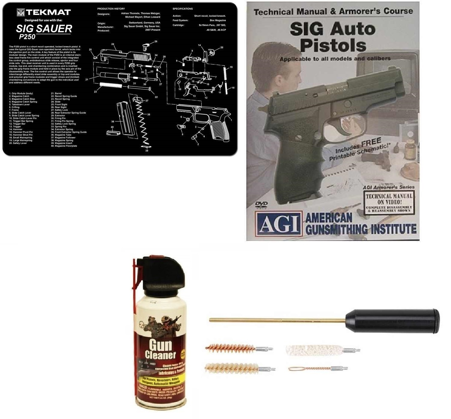 Ultimate Arms Gear Gunsmith & Armorer's Cleaning Bench Gun Mat SIG Sauer SIG P250 + Compact Pocket Sized Travelling... by