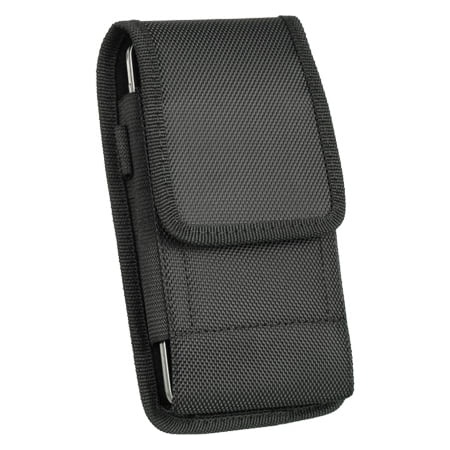MUNDAZE Black Vertical Canvas Belt Clip Pouch Carrying Case for Motorola Moto E4 Plus / Z2 Play / Z2 Force / Turbo 2 / Pure Edition / X