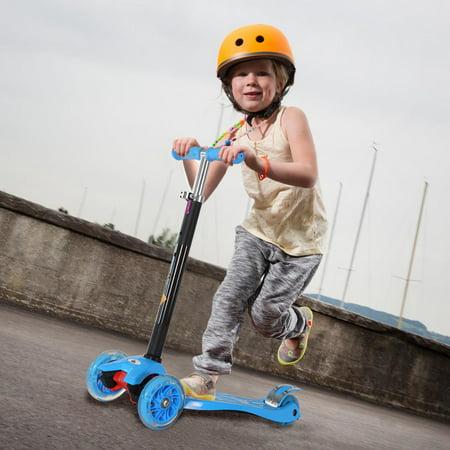 KOBE Junior Pro Mini Scooter - with 4 Swivel LED Light Up Wheels - Kids 2 to 6-yo - Blue - image 7 de 9