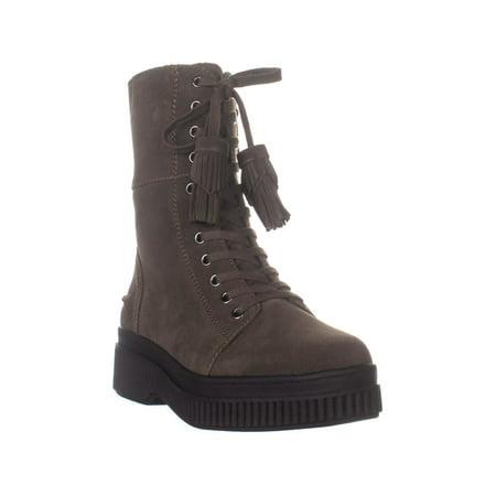 Womens Franco Sarto Becks Lace Up Combat Boots, Green Suede, 7.5 US / 37.5 EU