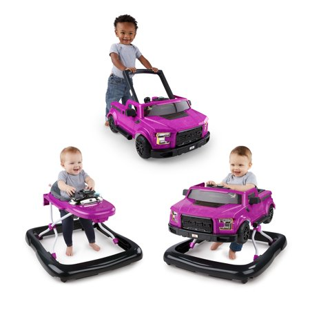 Bright Starts 3 Ways to Play Baby Walker - Ford F-150, Raptor Electric Magenta, Ages 6 months +