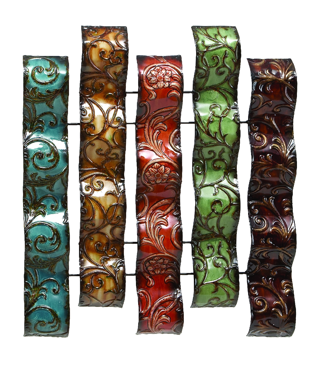 Red, Green And Brown Metal Wall Decor by Benzara