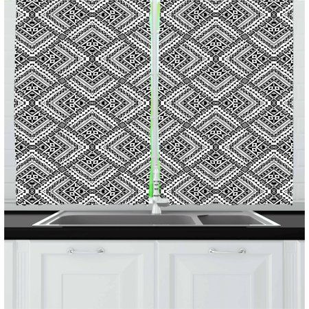 Black and White Curtains 2 Panels Set, Tribal Rhombuses Ethnic Abstract Motifs Chevrons Dots and Diamond Shapes, Window Drapes for Living Room Bedroom, 55W X 39L Inches, Black White, by Ambesonne - Black And White Chevron