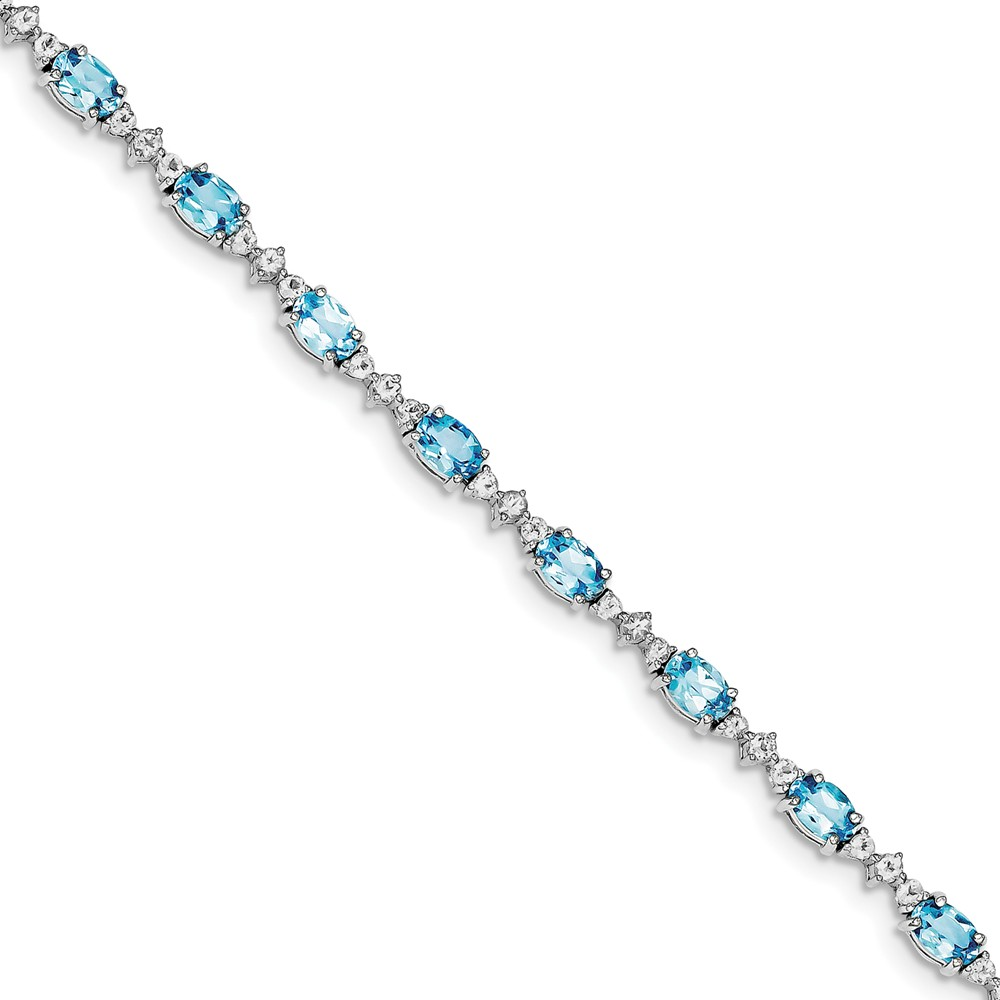 Sterling Silver Polished Rhodium-plated Fancy Lobster Closure Blue Topaz Bracelet 13.47 cwt by Jewelryweb
