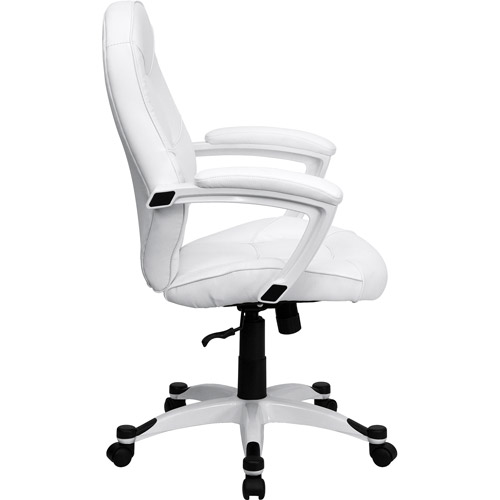 flash furniture mid-back leather executive office chair with arms