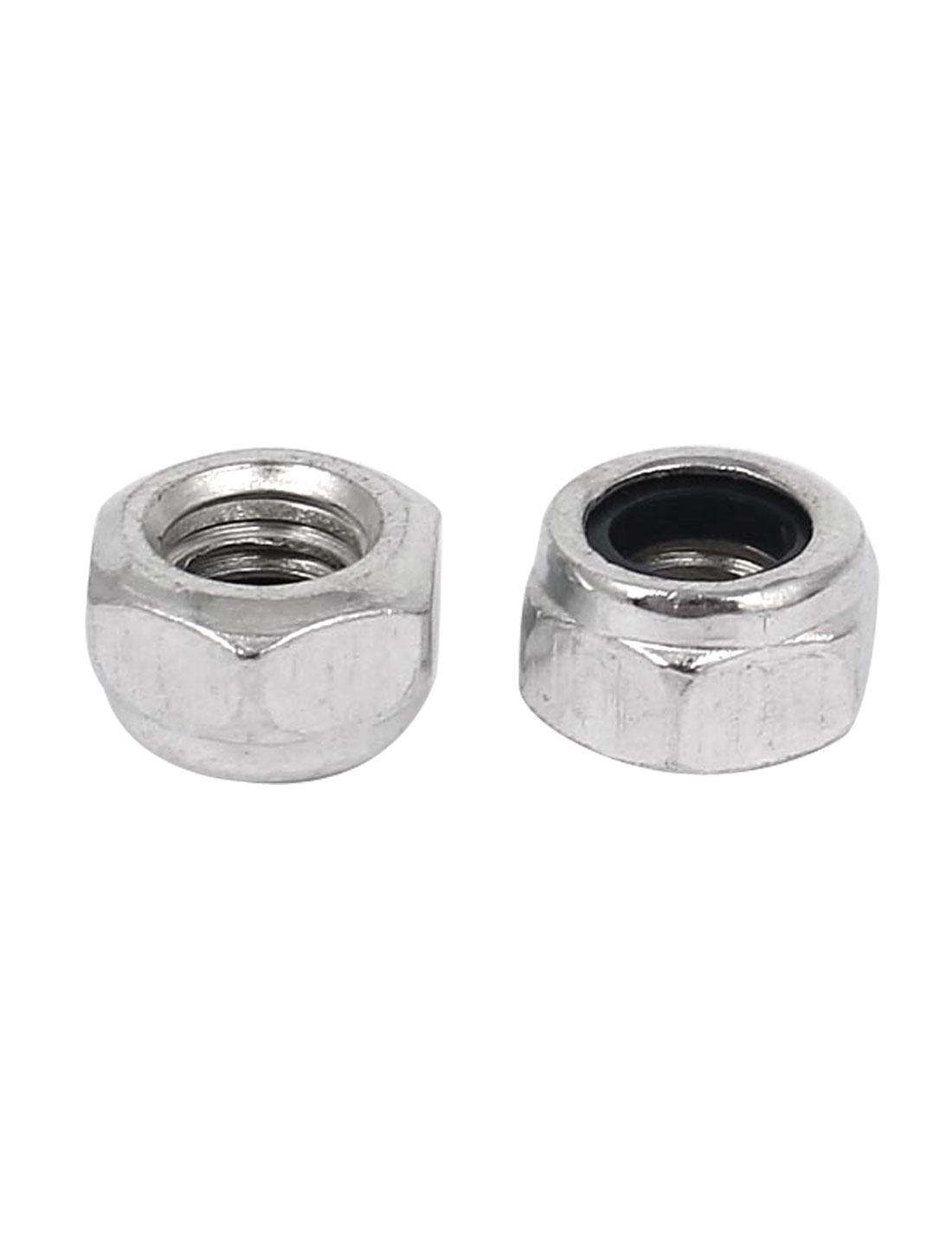 M6 x 1mm Zinc Plated Nylock Self-Locking Nylon Insert Hex Lock Nuts 100pcs
