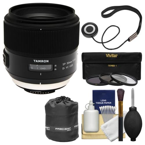 Tamron SP 35mm f/1.8 Di VC USD Lens with 3 UV/CPL/ND8 Filters + Lens Pouch + Kit for Nikon Digital SLR Cameras