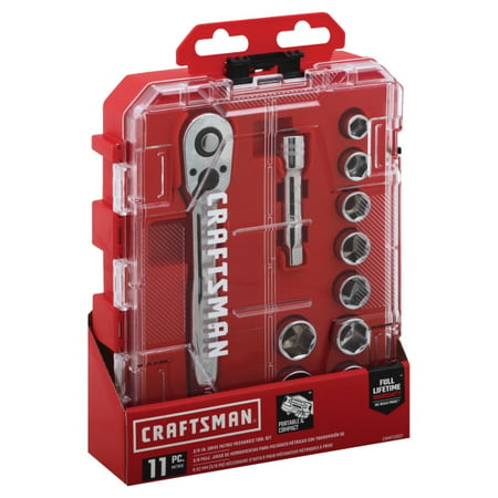 Craftsman 3/8 in. drive Metric 6 Point Socket and Ratchet Set 11 pc. - Case Of: 1; Each Pack Qty: 11; Total Items Qty: 11