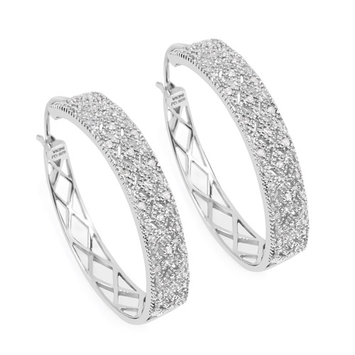 0.31 ct. Genuine White Diamond Sterling Silver Earrings