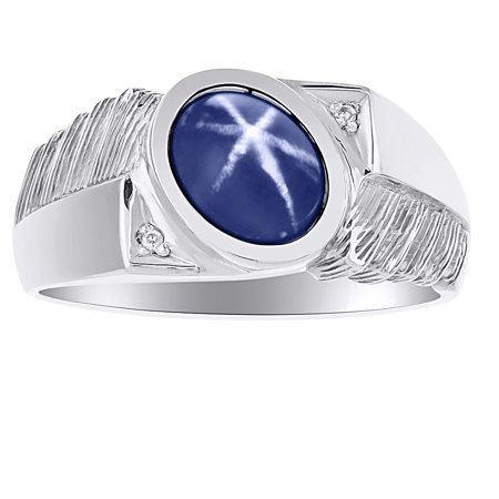 Rylos - Diamond & Blue Star Sapphire Ring Sterling Silver or