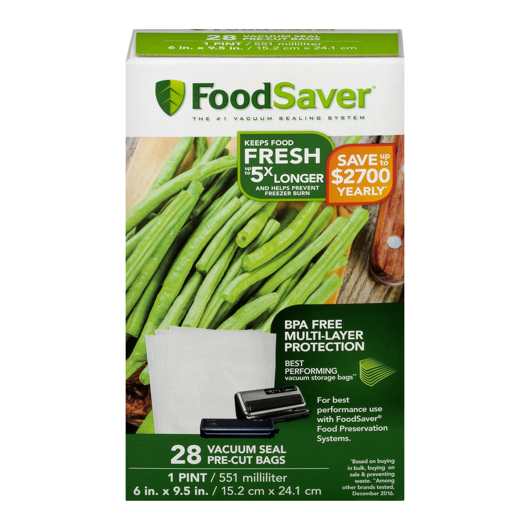 FoodSaver 1-Pint Vacuum Seal Bags, 28 Count