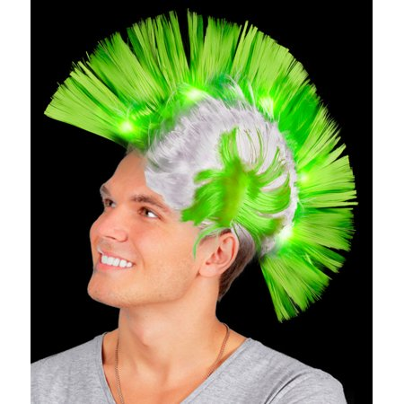 Fun Central (AD153) 1pc, Green LED Mohawk Wig, Mohawk Hat, Mohawk Wig, Mohawk Hair Costume Accessories