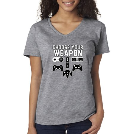 Trendy USA 1204 - Women's V-Neck T-Shirt Choose Your Weapon Gaming Console Controllers 2XL Heather Grey