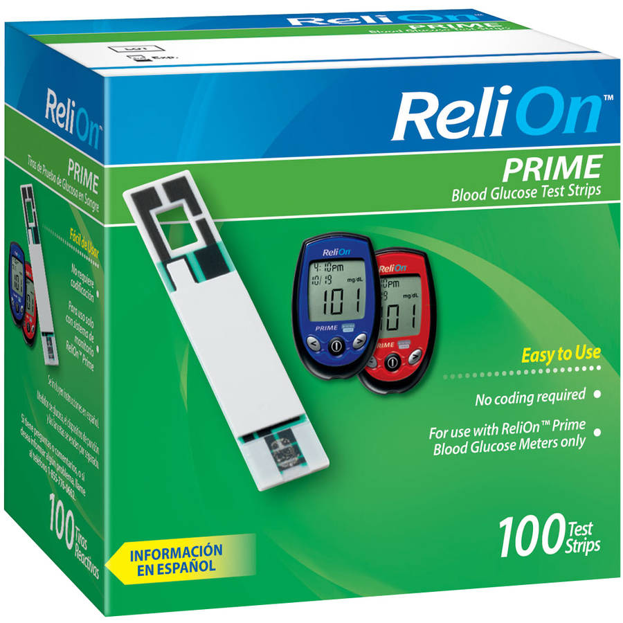 ReliOn Prime Blood Glucose Test Strips, 100 count