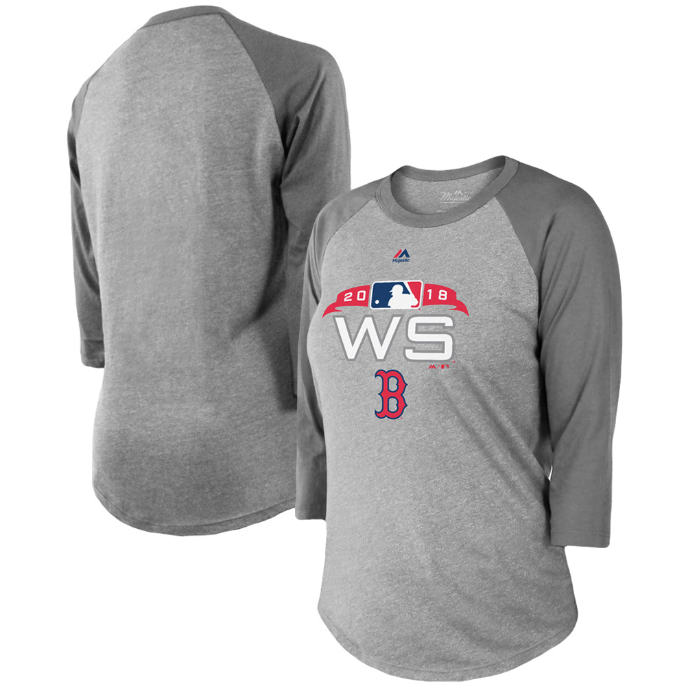 Boston Red Sox Majestic Threads Women's 2018 World Series Bound Authentic Collection 3/4-Sleeve Raglan T-Shirt - Gray