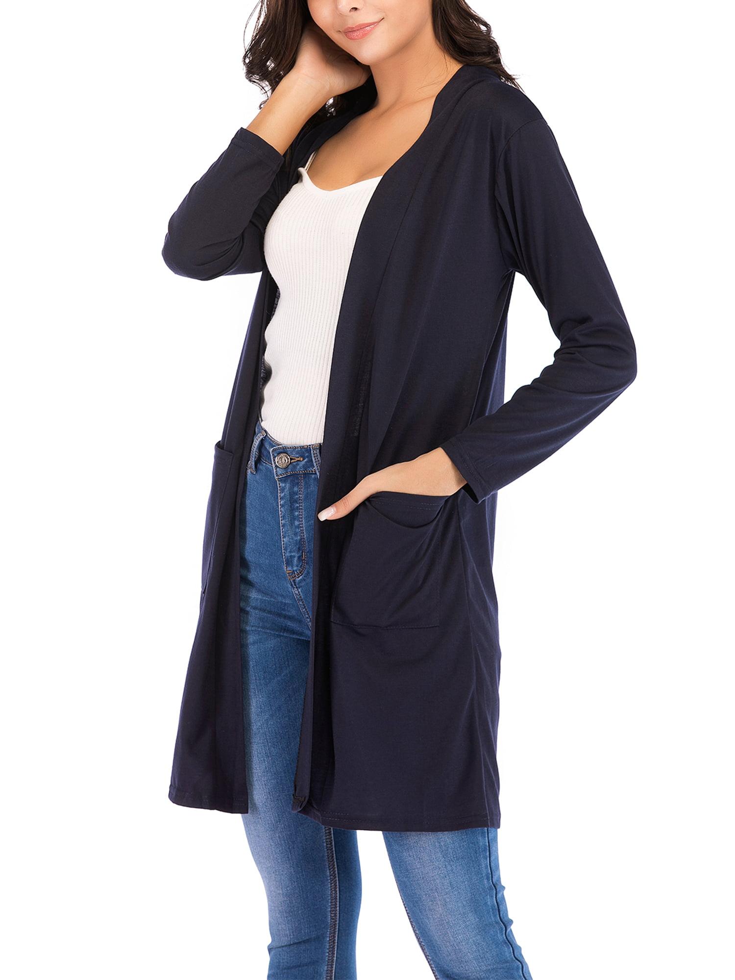 SAYFUT Women's Long Sleeve Open Front Cardigan Solid Lightweight Shirts Plus Size Long Cardigan Jacket Navy Blue S 3XL