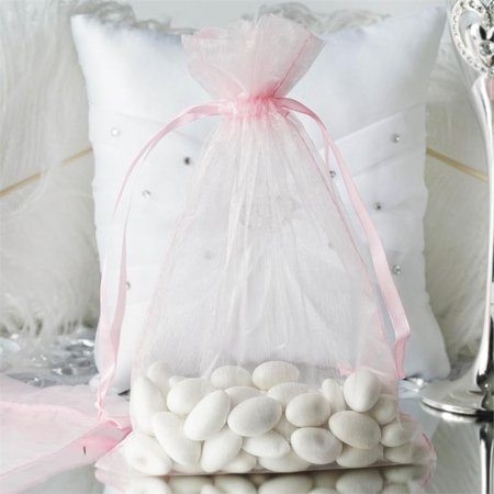 Efavormart 50PCS  Organza Gift Bag Drawstring Pouch for Wedding Party Favor Jewelry Candy Sheer Organza Bags - - White Bags For Luminaries