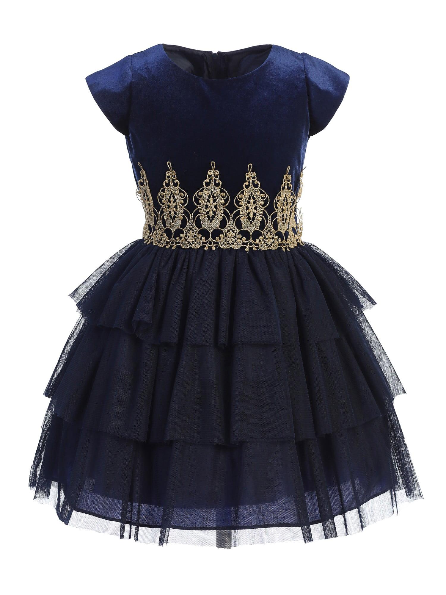 Sweet Kids Little Girls Navy Blue Lace Tiered Short Sleeve