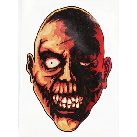 Creepy Staring Zombie Face Temporary Tattoo - Creepy Mime Makeup