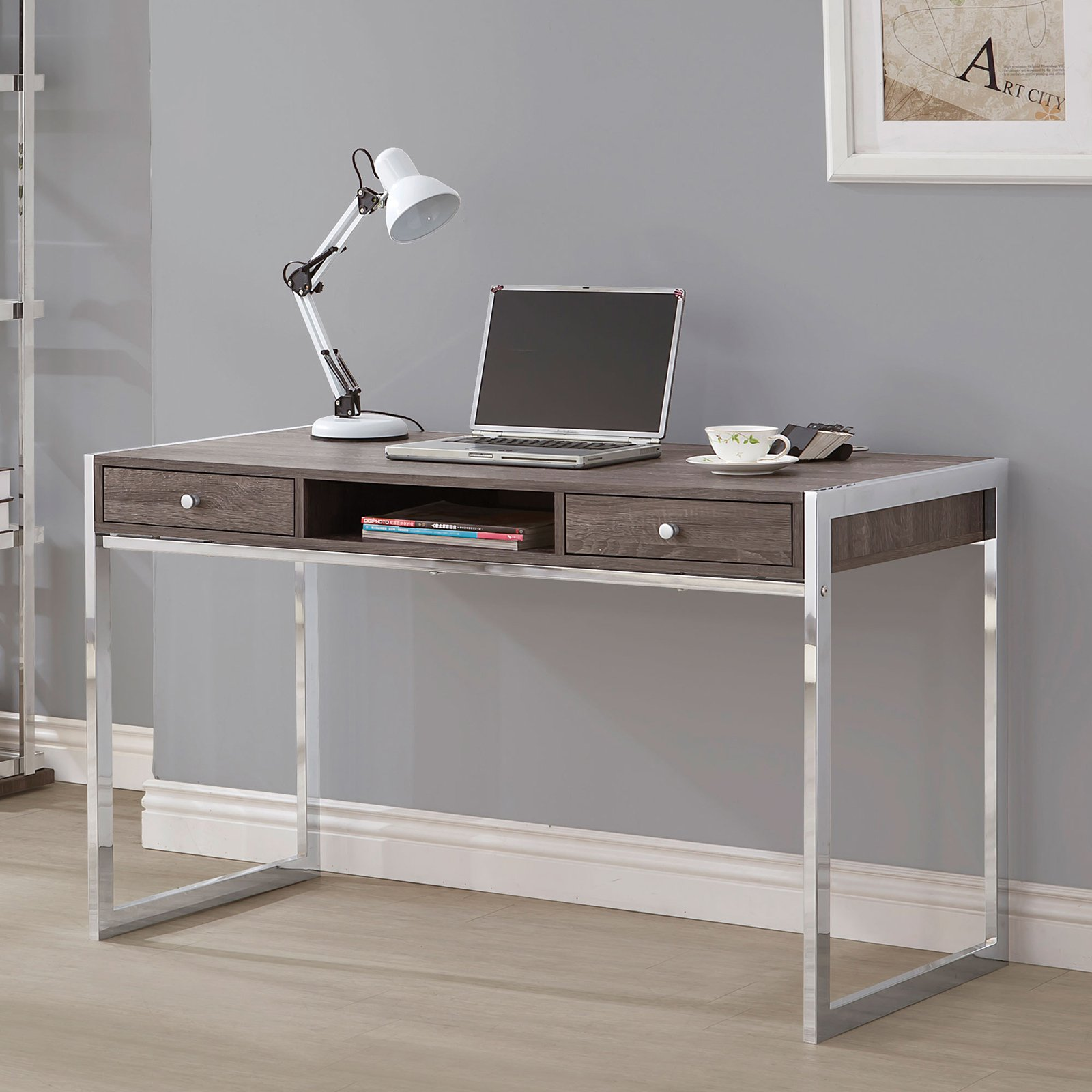 Coaster Contemporary Chrome Desk