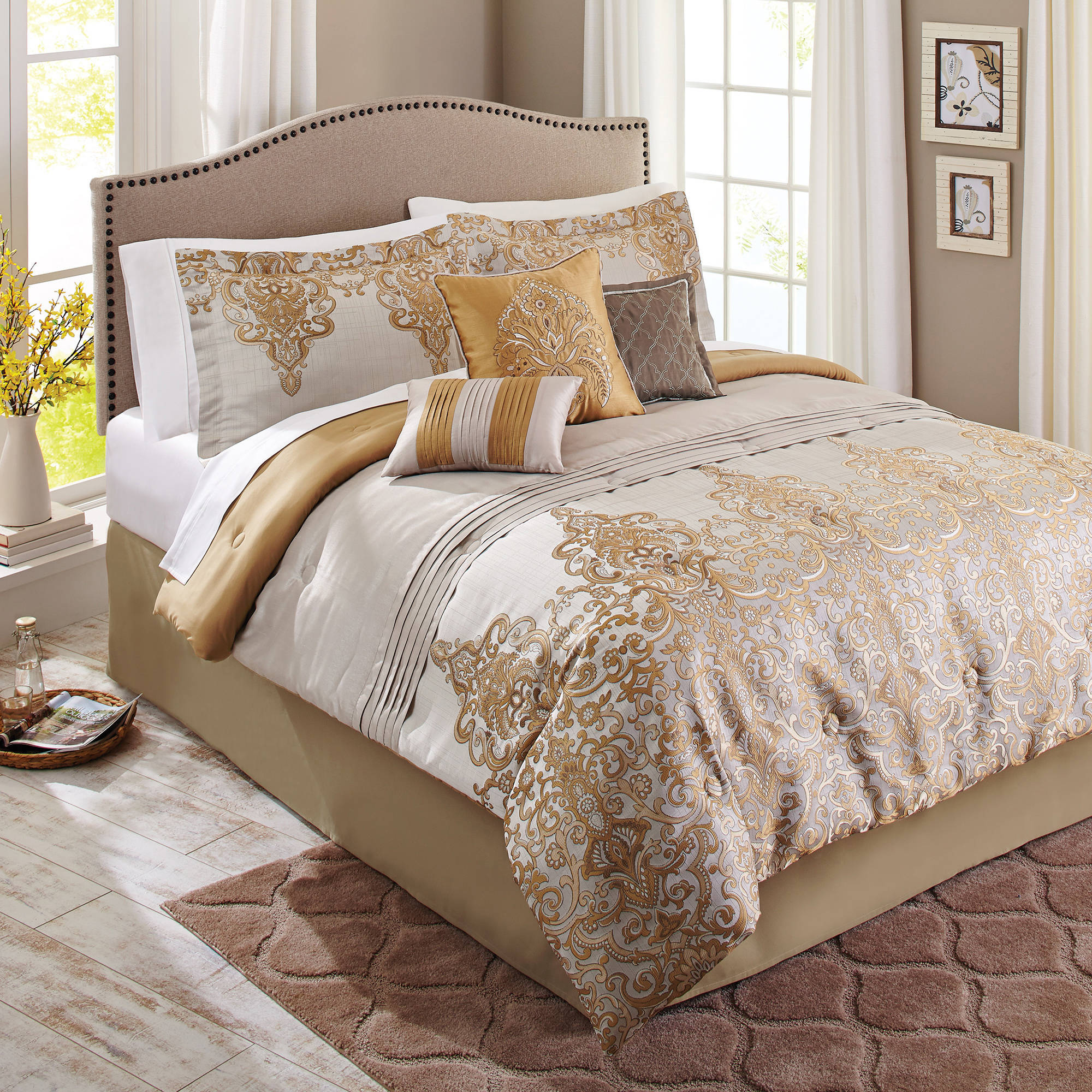 Better Homes and Gardens 7-Piece Bedding Comforter Set, Gold Accent Damask