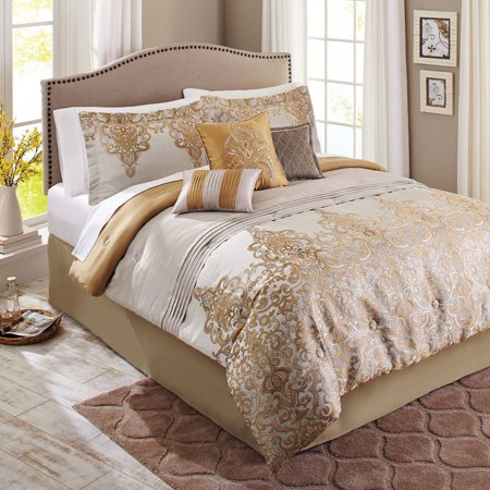 better homes and gardens 7 piece bedding comforter set gold accent