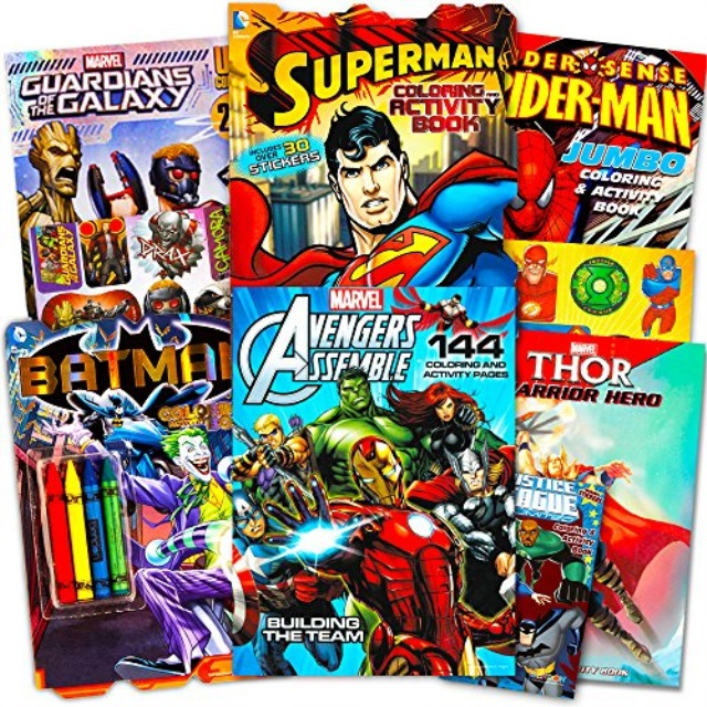 Superhero Giant Coloring Book Assortment 7 Books Featuring Avengers Justice League Batman Spiderman And More Includes Stic Walmart Com Walmart Com