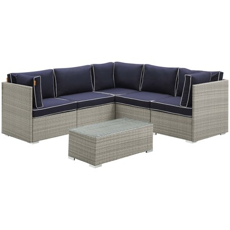 Contemporary Patio Set (Modern Contemporary Outdoor Patio Balcony Garden Furniture Lounge Sectional Sofa and Table Set, Sunbrella Rattan Wicker, Navy Blue Light Gray)