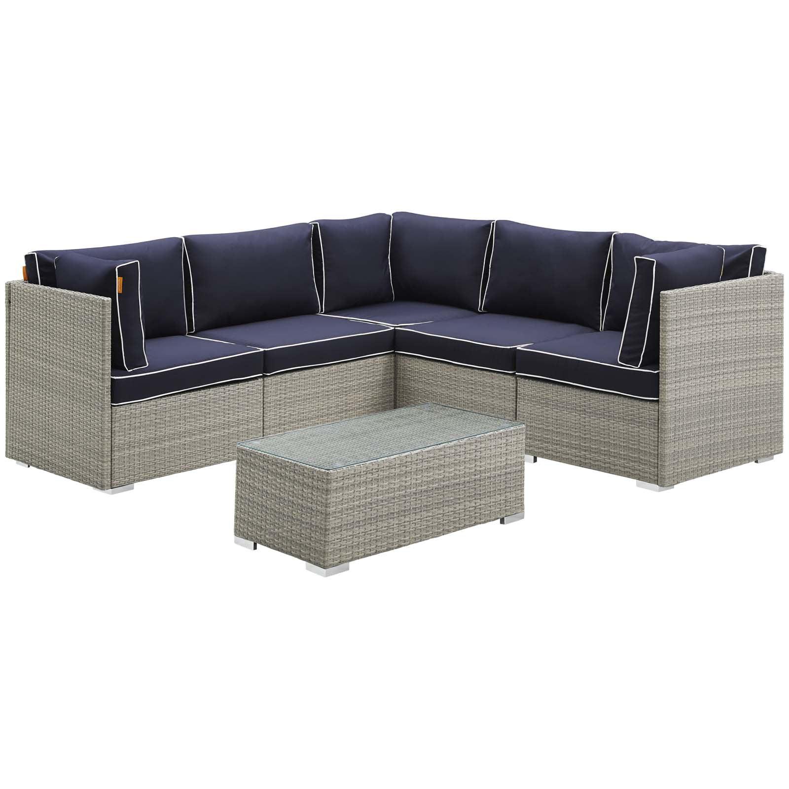 Modern Contemporary Outdoor Patio Balcony Garden Furniture Lounge Sectional Sofa and Table Set, Sunbrella Rattan Wicker, Navy Blue Light Gray
