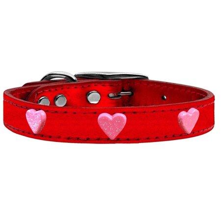 Pink Glitter Heart Widget Genuine Metallic Leather Dog Collar Red 26