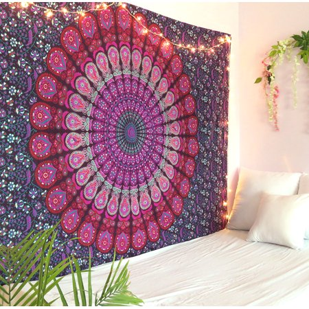 - Purple and Pink Peacock Mandala Tapestry Twin Size Boho Beach Throw Dorm Room Indian Wall Hanging Art Bedspread Outdoor Picnic Blanket by Oussum