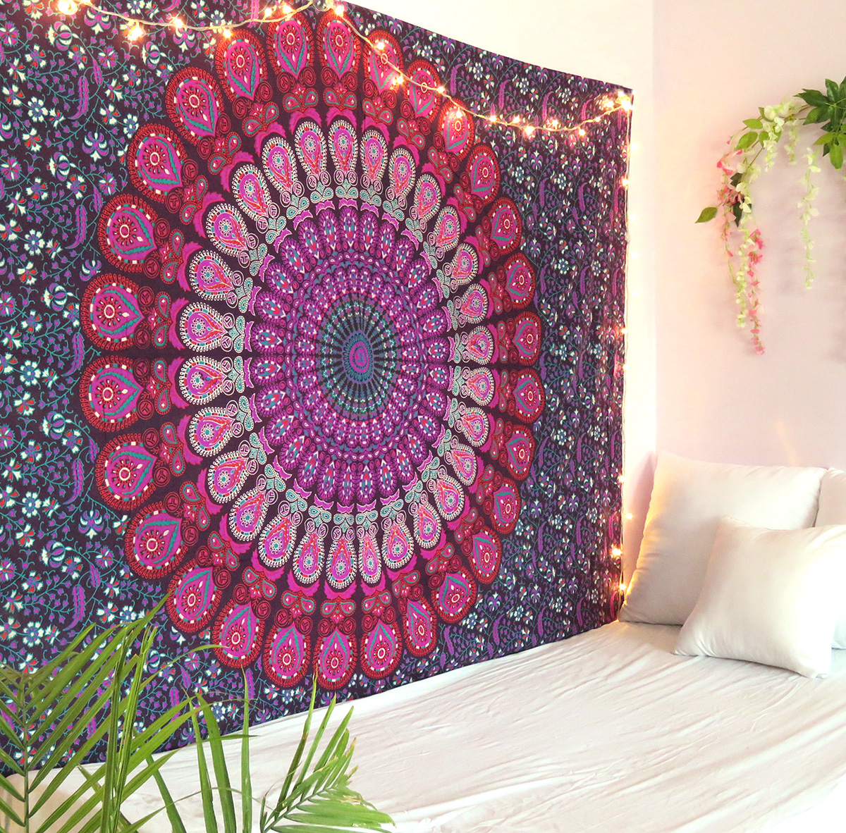 Purple and Pink Peacock Mandala Tapestry Twin Size Boho Beach Throw Dorm Room Indian Wall Hanging Art Bedspread Outdoor Picnic Blanket by Oussum